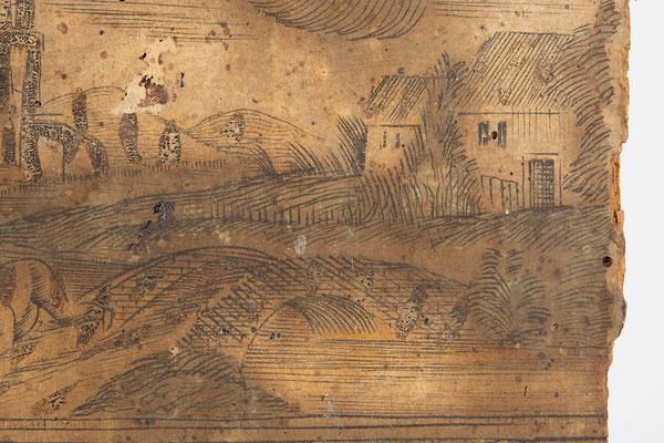 Detail Uhrenschild, Schwarzwälder Schilderuhr um 1800