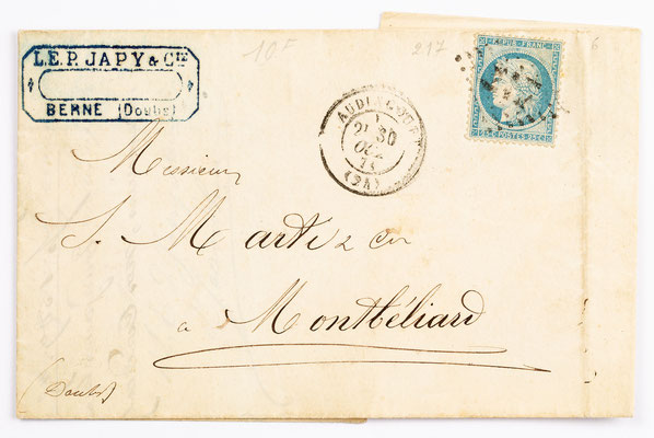 28. Oktober 1870, Brief L. E. P. Japy & Cie. (Berne) an S. Marti & Cie (Montbéliard)