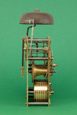 Uhrmacher Jakob Kleiser, 8-Tage Uhrwerk mit Schnecke, Schollach um 1860, Seitenansicht von links