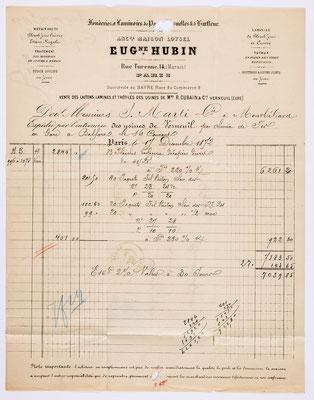 17. Dezember 1872, Brief von Eug. Hubin (Paris) an S. Marti & Cie. (Montbéliard), Inhalt