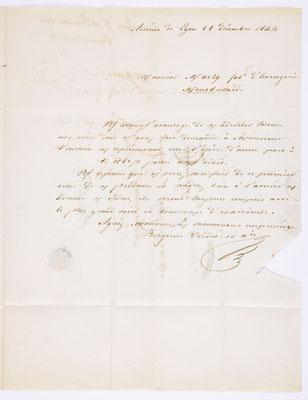 28. Dezember 1844, Brief von Bergeron Verdie & Cie (Lyon) an S. Marti & Cie. (Montbéliard), Inhalt