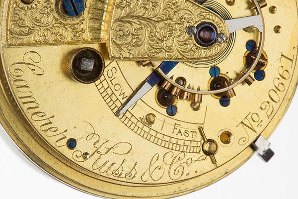 Camerer, Kuss & Co. (London) englisches Taschenuhrwerk Detailaufnahme der Signatur