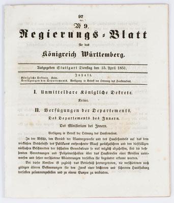 Regierungs-Blatt, Königreich Württemberg, Verfügung zum Hausierhandel von 1851