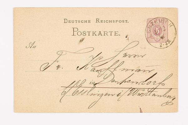 1877 Postkarte von Lenzkirch nach Esslingen