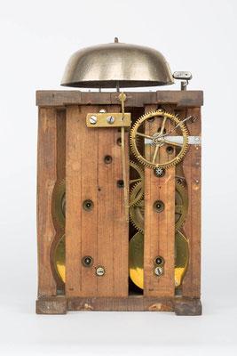 Rückanischt, Uhrwerk der Bracket Clock von Matthä Winterhalder, Schwarzwald um 1855