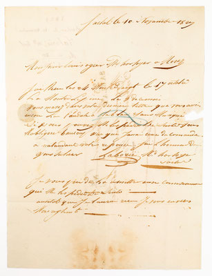 Horloger Louise Ogier, Morez 10.11.1829, Brief Inhalt