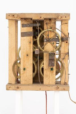 8 Tage Uhrwerk von Isidor Dorer aus Furtwangen Katzensteig (Schwarzwald), um 1850, Rückseite mit abgenommener Rückwand