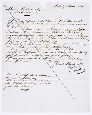 17. Juli 1846, Brief von S. Marti (Paris) an S. Marti & Cie. (Montbéliard), Inhalt