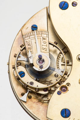 Detailaufnahme freier Spitzzahnankergang, Englisches Taschenuhrwerk,  A. Furtwangler in London