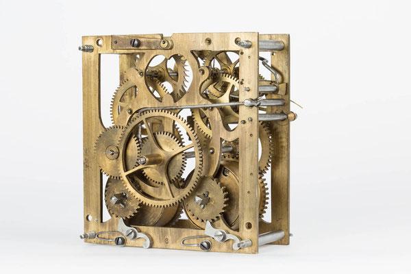 Rückseite des Uhrwerkes von K. Fuchs, Vöhrenbach um 1880