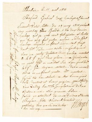 Horloger Mayet, Morbier 11.08.1811, Briefinhalt