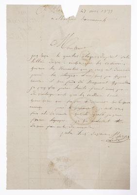 Romanet, horloger Morez 31. Mai 1833, Briefinhalt