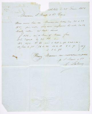 25. Februar 1854, Brief von S. Marti (Montbéliard) an S. Marti & Cie. (Paris), Inhalt