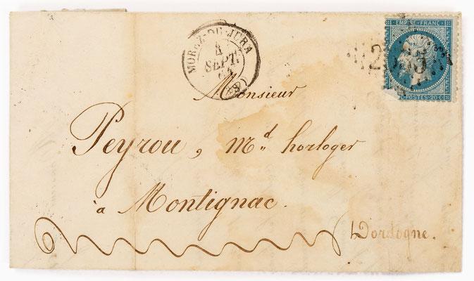 Horloger Honoré Morel, 04.09.1864 Brief
