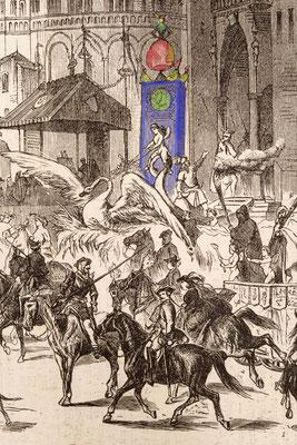 Kölner Karneval, Maskenumzug, Detail Schwarzälder Uhr, Rosenmontag 15. Februar 1858