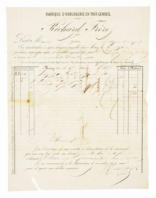 Richard Frére, Horloger á Morez 15.03.1867, Briefinhalt