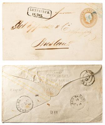 Ganzsache 9 Kreuzer, von der Aktiegesellschaft für Uhrenfabrikation Lenzkirch an Uhrenhandlung Gebrüder Eppner Breslau, um 1860
