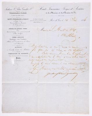 13. Juni 1856, Brief von Jackson Fres. Petin Gaudet & Cie (Rive de Gier) an S. Marti & Cie. (Montbéliard), Inhalt
