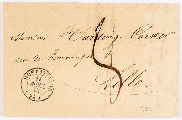 14. April 1843, Brief von S. Marti & Cie. (Montbéliard) an Handing Cooker (Lille)