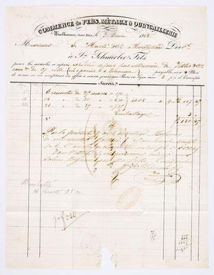 7. Juni 1842, Brief von Schmerber Fils (Mulhausen) an Samuel Marti (Montbéliard), Inhalt