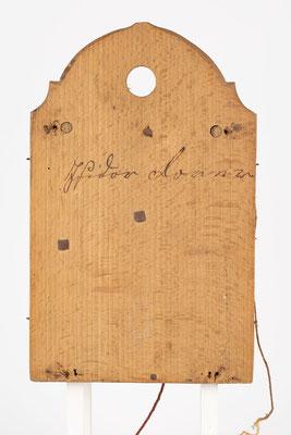 8 Tage Uhrwerk von Isidor Dorer aus Furtwangen Katzensteig (Schwarzwald), um 1850, Rückwand