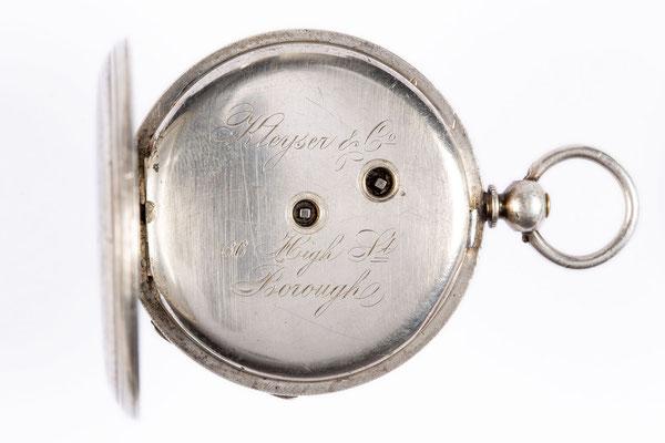 Kleyser & Co., 66 Borough High Str. London, Taschenuhr im Silbergehäuse, Zwischendeckel mit Signatur, um 1900