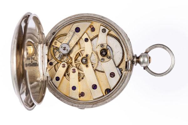 Kleyser & Co., 66 Borough High Str. London, Taschenuhr im Silbergehäuse, Uhrwerk mit Zylindergang, um 1900