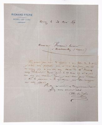 Frère Richard, Horloger a Morez, 31.05.1871, Briefinhalt
