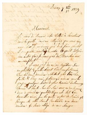 Horloger Louis Ogier, Morez 7.09.1829, Brief Inhalt Seite 1
