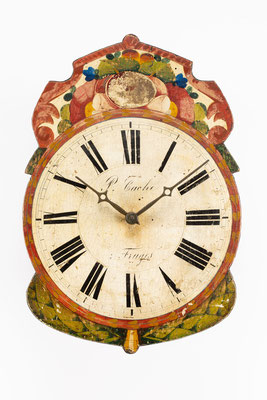 Schwarzwälder Lackschilduhr vom Uhrenhändler P. Cache á Fruges (Frankreich)
