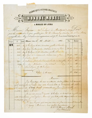 Honoré Moell, Horloger á Morez, 18.08.1865, Briefinhalt