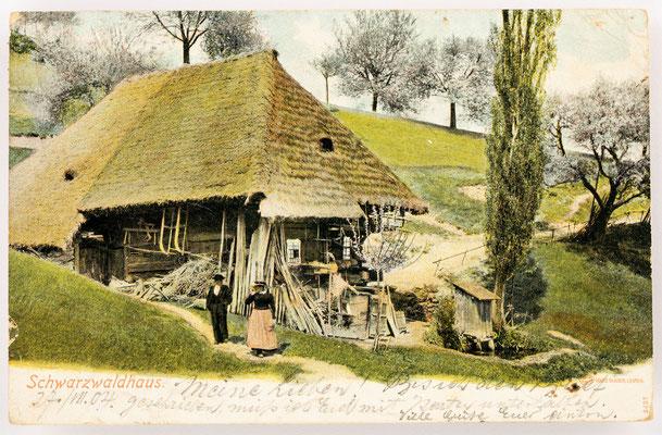 Schwarzwaldhaus vermutlich aus dem Raum Glottertal, Poststempel vom 27.04.1904