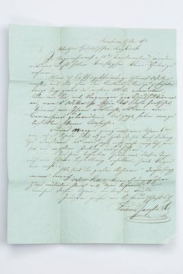 Inhalt Seite 1, Geschäftsbrief Fürderer Jaegler & Cie.,Straßburg 1852