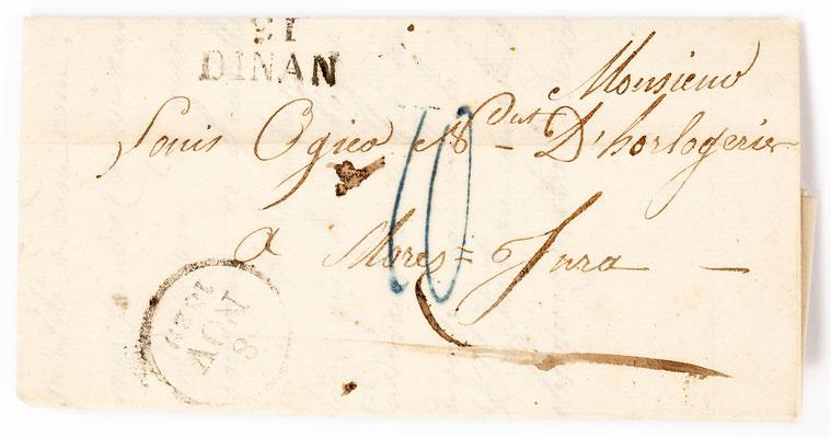 Horloger Louis Ogier, Morez 7.09.1829, Briefhülle