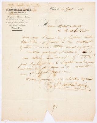 18. Juli 1839, Brief von Johann Reveilhac & Fils (Paris) an Moser & Marti (Montbéliard), Inhalt