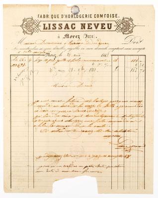 Horloger Lissac Neveu, Morez 28.08.1868 Brief Inhalt