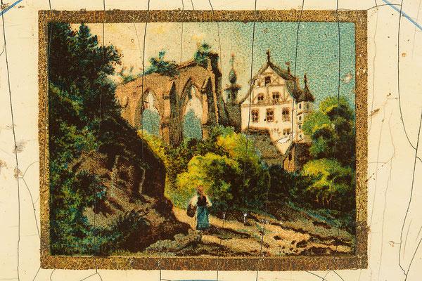 Detail Abziehbildchen, Lackschilduhr von Camerer, Kuss & Co Baden