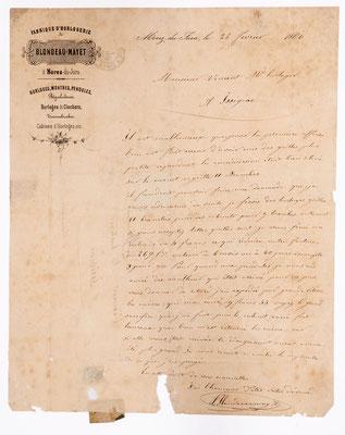 Blondeau-Mayet, fabrique d´horogeie, Morez 1866, Briefinhalt