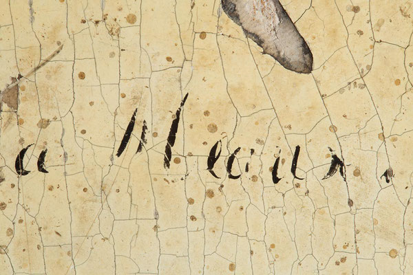Detail der Händlersignatur, der Handelsort Meaux