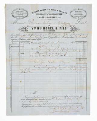 Morel & Fils, Horloger á Morbier, 19. Januar 1870, Briefinhalt