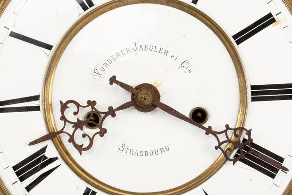 Regulator Uhrwerk mit Zifferblatt, Furderer, Jaegler & Cie, Strasbourg, Detail Signatur