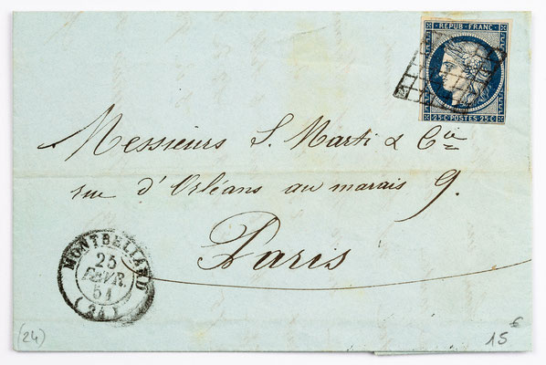 25. Februar 1854, Brief von S. Marti (Montbéliard) an S. Marti & Cie. (Paris)
