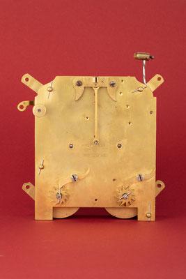 Rechenschlagwerk, Uhrmacher Anton Breger, Vöhrenbach im Schwarzwald um 1860, Rückseite