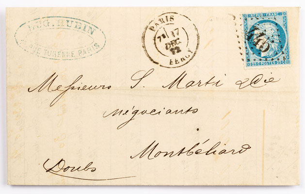 17. Dezember 1872, Brief von Eug. Hubin (Paris) an S. Marti & Cie. (Montbéliard)