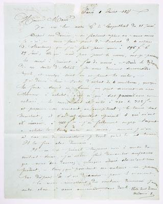 01. Juli 1855, Brief von S. Marti (Paris) an S. Marti & Cie. (Montbéliard), Inhalt