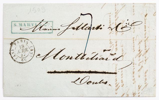 01. März 1847, Brief von S. Marti (Paris) an S. Marti & Cie. (Montbéliard)