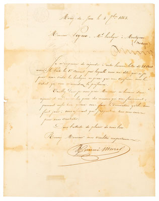 Horloger Honoré Morel, 04.09.1864 Brief Inhalt