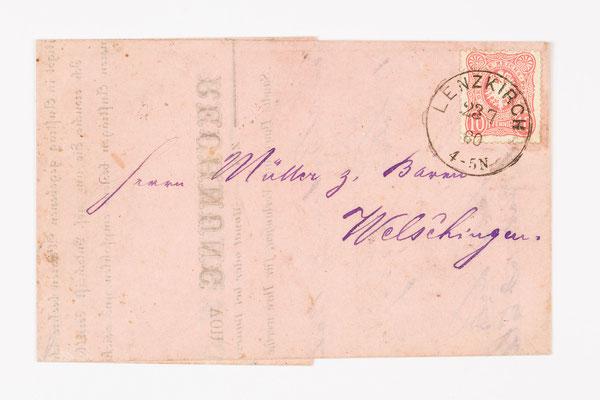 1880 Rechnung von Lenzkirch nach Welschingen
