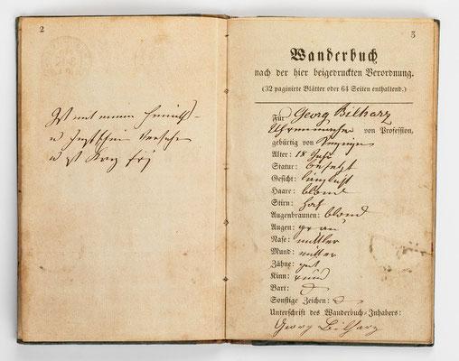 Wanderbuch des Uhrmachergesellen Georg Bilharz von 1849 bis 1851, Kenzingen im Großherzogtum Baden, Seite 2-3