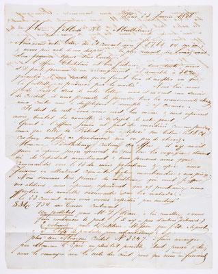 25. Januar 1846, Brief von S. Marti (Paris) an S. Marti & Cie. (Montbéliard), Inhalt 1
